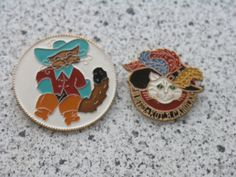 Soviet pin badges set - Cat in the boots, characters from soviet cartoons - 2 pcs. USSR cartoon, CCCP by PinBadges on Etsy