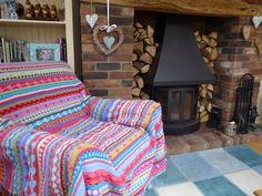 Mixed stripey crochet blanket, `Moroccan bazaar` blanket by Kerry Warren.  Inspired by littlewoolie