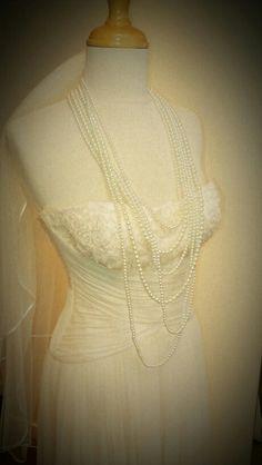 Vintage pearl strands and the Elizabeth de Varga 'Rosa' gown <3