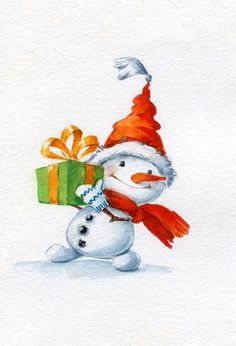 Pin by Sherri Finney on Christmas Cards (With images) Christmas Snowman, Winter Christmas, Christmas Time, Vintage Christmas, Christmas Crafts, Christmas Decorations, Christmas Ornaments, Watercolor Christmas Cards, Christmas Drawing