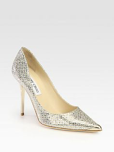 Jimmy Choo - Abel Glitter-Coated Leather Pumps Shop at Saks Fifth Avenue at 150 Worth Ave in Palm Beach FL Stiletto Pumps, Suede Pumps, Pointed Toe Pumps, Leather Pumps, Manolo Blahnik, Bridal Shoes, Wedding Shoes, Dream Wedding, Wedding Gowns