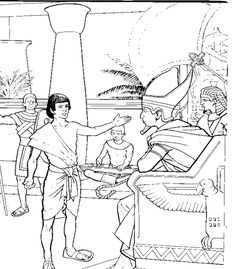 Joseph interpreting Pharaoh's dreams coloring page. This coloring page will help you prepare your Sunday school lesson on Genesis 30:22-50:26 on the Bible story of Joseph.