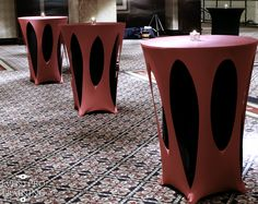 Hot Pink and Black Wedding spandex linens for cocktail tables
