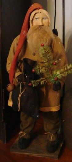 Primitive Santa with a Feather Tree  - Arnett's Country Store