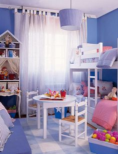 Blue white girl room with doll decor. Modern kids room with bunk beds design inspirations.