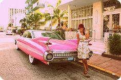 cute fashion blog-love the pink car!