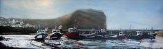 """Boats at Rest"" (Staithes Yorkshire England) Oil painting by Barrington Loines 2017"