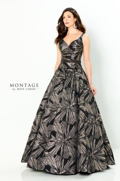 Montage Style 220953. Description: Sleeveless brocade ball gown with a v-neck, drop waist and a v-back. Detachable belt, Shawl included. Details: Length: Long;Neckline: V-Neck;Silhouette: Ball Gown;Special Features: Detachable Belt Included, Shawl Included;Fabric: Brocade;Collection: Spring 2021;Brand: Montage;Waistline: Drop Waist Mob Dresses, Tea Length Dresses, Satin Dresses, 2015 Wedding Dresses, Bridal Dresses, Gown Wedding, Wedding Blog, Gold Formal Dress, Formal Wear