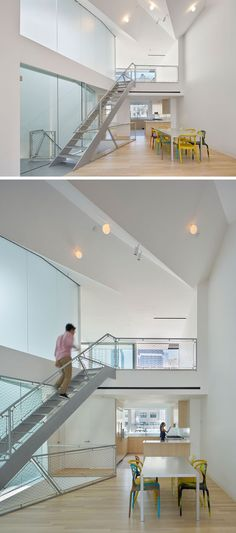 The penthouse apartment in New York has a high ceiling and lofted bedroom.