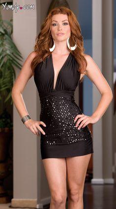Heather Vandeven in black Microfiber Contrast Halter Dress by Dreamgirl