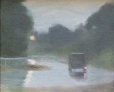 Clarice Beckett - Wet evening, c. oil on cardboard Dark Landscape, Contemporary Landscape, Contemporary Paintings, Abstract Landscape, Landscape Paintings, Australian Painting, Australian Artists, Nocturne, Tasmania