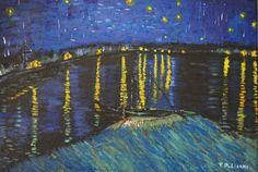 """La """"nuit étoilée sur le Rhône"""" d'après Vincent Van Gogh de la boutique TableauxFPolisano sur Etsy"""