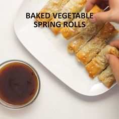 Baked Vegetable Spring Rolls We have filled our healthy spring rolls with vegetables and baked them to crispy perfection. Our version is both satisfyingly crunchy and truly healthy! Click the video for the full recipe. Veggie Recipes, Gourmet Recipes, Appetizer Recipes, Vegetarian Recipes, Cooking Recipes, Healthy Recipes, Italian Appetizers, Party Appetizers, Party Snacks