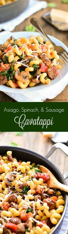 Asiago, Spinach, and Sausage Cavatappi is a flavorful veggie packed pasta that comes together in less than 30 minutes.