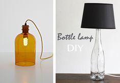 Selección de lámparas hechas y diseñadas con botellas de cristal. Lámparas  de techo 221ee0f4f633