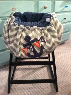 Ahoy Shopping Cart and High Chair Cover by TWINSANDQUINN on Etsy