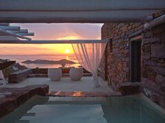 jenny.gr Beautiful Places To Visit, Beautiful World, Porches, Dream House Exterior, Stone Houses, Terrace Garden, Pool Designs, Outdoor Rooms, Coastal Living