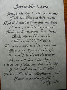 Mother in Law Poem - black italic  Contact me for a quote.  Great gift idea!