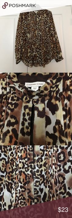 Blouse Long sleeve animal print silky blouse with pin tucking detail; buttons halfway down the front Coldwater Creek Tops Blouses