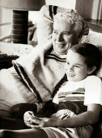 Charlie Chaplin with his eldest daughter Geraldine, late 1940s/early 1950s