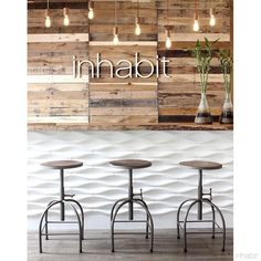 Inhabit's Origami Architectural Concrete Tile in White are nested concrete tiles. Inhabit is your source for environmentally friendly modern furnishings for your home. Coffee Shop Design, Cafe Design, Bar Tile, Interior Design Institute, Black Interior Doors, 3d Wall Panels, Concrete Tiles, Cottage Interiors, Cafe Interior