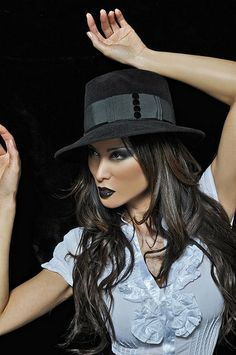 a348bc21e6 Black felt wide brimmed fashion fedora hat Fedora Hat Women