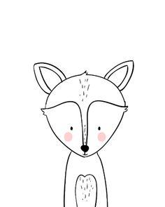 Animal Nursery, Nursery Art, Baby Animal Drawings, Animal Doodles, Baby Drawing, Baby Deer, Baby Scrapbook, Baby Prints, Woodland Animals