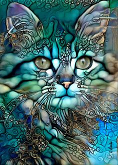Cat Colors, Arte Pop, Whimsical Art, Beautiful Cats, Cat Love, Crazy Cats, Pet Portraits, Cat Art, Amazing Art