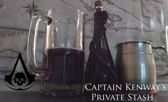 Captain Kenway's Private Stash (Assassin's Creed IV: Black Flag cocktail) Ingredients:1.5 oz Kraken Black Spiced Rum.75 oz Creme de Cassis1 dash GoldschlagerFill with 7-Up Directions:Pour the kraken and Creme de cassis into a shaker with ice and shakevigorously.Strain over ice into a mug.Splash Goldschlager on top, then fill with 7-up.Enjoy whilst sailing the 7 seas. A note from the creator:  Grog was the traditional drink of pirates. On many ships there were hundreds of pirates and…