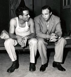 Montgomery Clift and Marlon Brando, what a pair of handsome men!