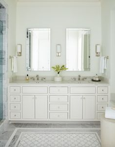 Amber Interiors Design Studio is a full-service interior design firm based in Los Angeles, California, founded by Amber Lewis. We serve clients worldwide with services ranging from interior design, interior architecture to furniture design. Bathroom Renos, Bathroom Renovations, Bathroom Ideas, Bathroom Mirrors, Bath Ideas, Condo Bathroom, Bathroom Inspo, Washroom, Bathroom Designs