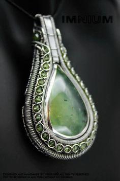 Available prehnite pendant. Teardrop cabochon: prehnite (over 35 carats), small rondelles: peridot, the big rondelles at the bail: vesuvianite.  Materials: 999 and 925 silver