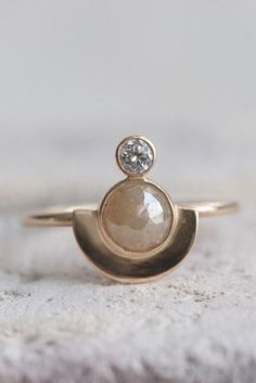 White Diamond and Rose Cut Diamond Semicircle Solid 14k Gold Ring