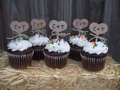SET OF Personalized Rustic Country Heart Cupcake Toppers Item Our adorable cupcake toppers are made with wood hearts that will come hand painted with your initials in black or brown Rustic Cupcakes, Rustic Cake Toppers, Cupcake Toppers, Cupcake Cakes, Dessert Bar Wedding, Wedding Desserts, Wedding Cupcakes, Party At The Park, Unity Candle Holder