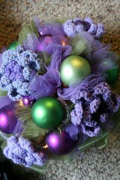 Light-up, ornament, crochet bouquet