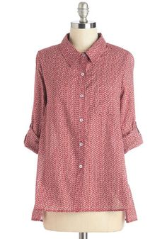 Splendid Idea Top in Cherry. Bring cheer to all those around you in this feminine button up. #gold #prom #modcloth