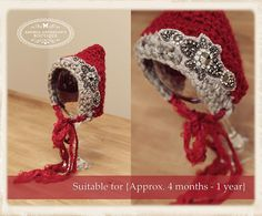 Shawna! Baby girls 4 months - 1 year Photography Prop - crochet pixie bonnet hat - Christmas photography prop by AndreasPropBoutique