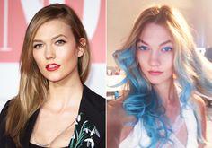 Karlie Kloss tries out blue hair.