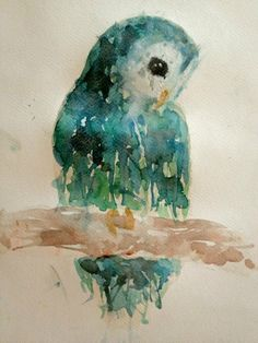 green watercolored owl (artist unknown)