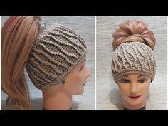 Easy Crochet Headbands, Crochet Hats, Crochet Tablecloth, Tunisian Crochet, Crochet Videos, Bandana, Winter Hats, Crochet Patterns, Beanie