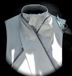 Show Hack Dressage Stock Tie Dickie with Silver Nailhead Embellished ascot and Grey piped stock tie
