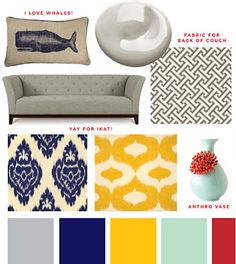 Living room- gray walls- gray couch with pops of color- Oh guest room colors I've found you! Red Color Schemes, Living Room Color Schemes, Living Room Colors, Living Room Designs, Color Combos, Blue And Yellow Living Room, Grey Bedroom With Pop Of Color, Living Room Red, Yellow Couch