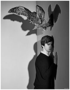 Freddie Highmore Channels Psycho for Bates Motel Season 3 Promo Photo Shoot.