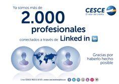 Ya somos 2.000 profesionales conectados a través de LinkedIn. Muchísimas gracias por haberlo hecho posible :)  --> https://www.linkedin.com/company/cesce <--