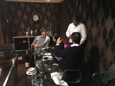 Baiju Solanki, Nick James, Kriti Sharma and Simon Barry deep in conversation at the SmartHomeDinner in London on the 25th October 2016 with Amazon looking at Echo and Alexa.