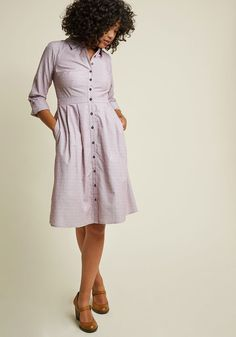 <p>Behind the scenes is where you thrive, and in this cotton shirt dress from our ModCloth namesake label, you make the studio look as polished as the live stream! Designed with maroon and white pinstripes, clip dots, and handy pockets, this tab-sleeved midi continues to impress long after you wrap up production.</p>