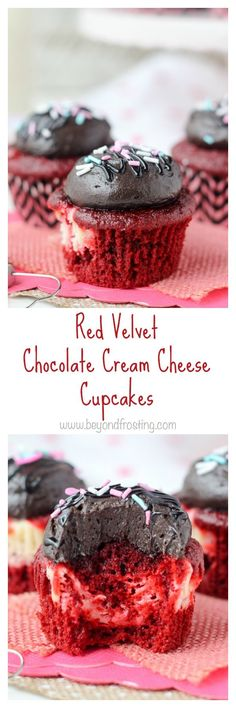 These red velvet cupcakes have a cheesecake filling and are topped with a silky chocolate cream cheese frosting. Rich and decadent, these cupcakes will satisfy your sweet tooth.