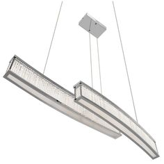This contemporary LED linear chandelier features a chrome finish. The clear glass rods illuminate the LED lights perfectly.The linear design will add interest to this truly unique piece.