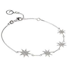 Bee Goddess Star Bracelet ($3,545) ❤ liked on Polyvore featuring jewelry, bracelets, white gold jewellery, chains jewelry, white gold bangle, 14k jewelry and star bangle
