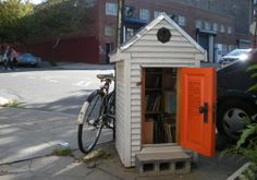 Williamsburg, Brooklyn's Corner Library. Artist Colin McMullan designed this replica of a classic public library, which stays open to cardholders 24/7. It's fully functional, including donated graphic novels, zines, pamphlets, and books published by small presses and artists, plus CDs, DVDs, maps, etc. More of the popular, doghouse-sized bookeries are in the works.
